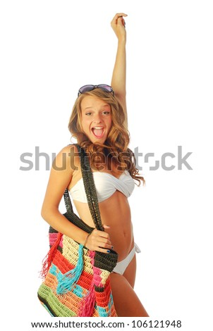 A day at the sea - A young woman torn between the sea and shopping - 015 - stock photo