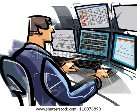 A day-trader - stock photo