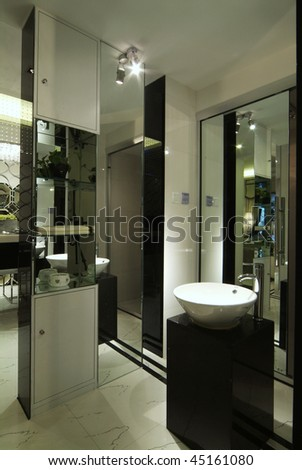 A decorated washroom in modern style. - stock photo