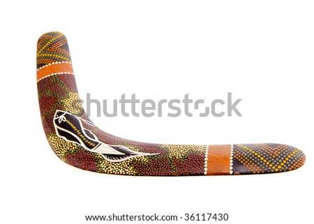 A Decorated Wooden Australian Boomerang isolated on white - stock photo