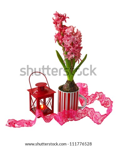 A decorative composition with burning lantern and red hyacinth on white background - stock photo