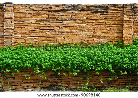 A decorative stone wall isolated on white background