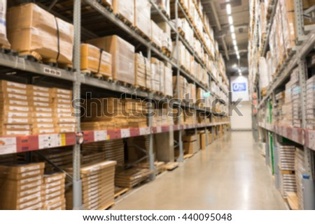A defocused Background of furniture store warehouse