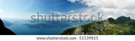 A 270 degree panorama bird view from lions mountain in Vancouver,Canada. - stock photo