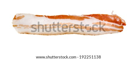 a delicious bacon slice isolated over a white background - stock photo