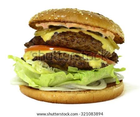 A delicious burger with two cutlets