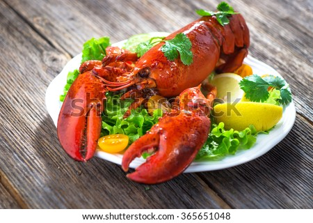 A delicious freshly boiled lobster