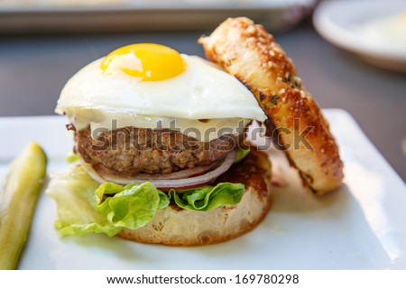 A delicious hamburger garnished with lettuce and onion and topped with a fried egg - stock photo