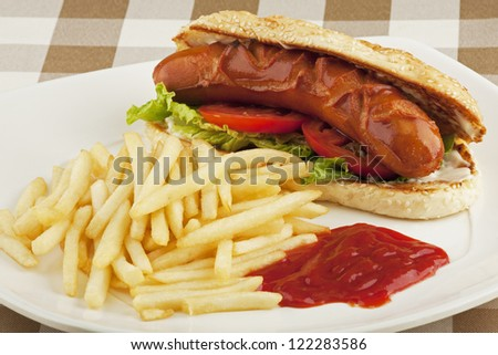 A delicious hot dog sandwich with french fries