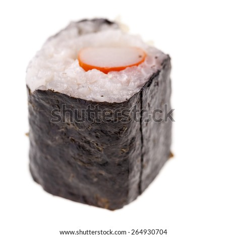 a delicious maki sushi isolated over a white background - stock photo