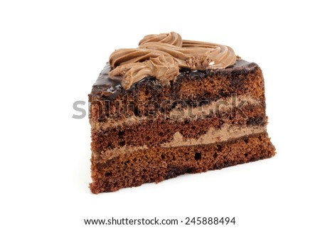A delicious piece of chocolate cake with cream - stock photo