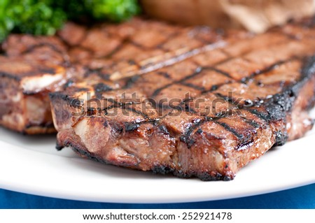 a delicious t-bone steak grilled to perfection - stock photo