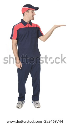 A Delivery person in studio white background - stock photo