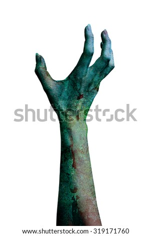 a demonic hand isolated on white background. (more in my portfolio) - stock photo