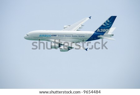 A380 demonstration flight at the Singapore Airshow 2008 - stock photo