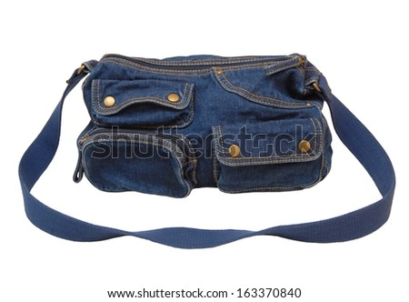 A denim bag is on white background. - stock photo