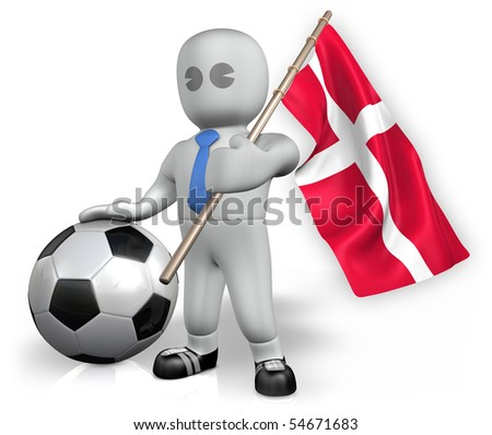 A Denmark football fan with a ball and a flag - stock photo