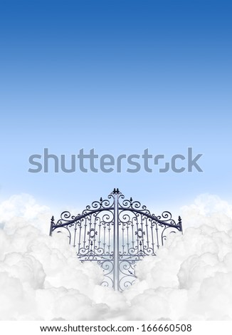 A depiction of the gates to heaven in the clouds shut under a clear blue sky background - stock photo