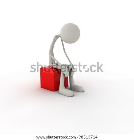 a depri figure is sitting on a red chair - stock photo