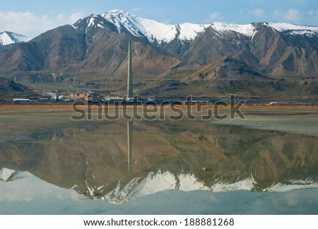 A desalination plant on the shore of the Great Salt Lake near Salt Lake City, Utah. - stock photo