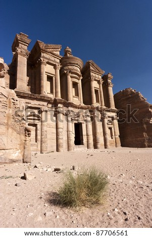 A desert plant in front of the Petra Monastery - stock photo
