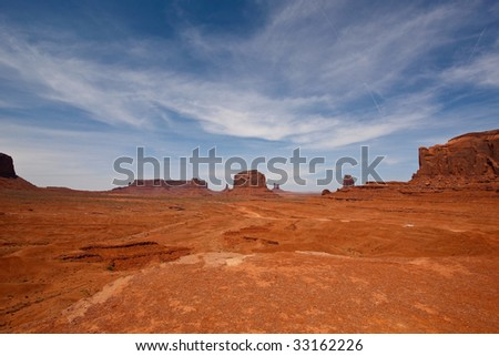 A desert scenery in Monument Valley, Arizona.