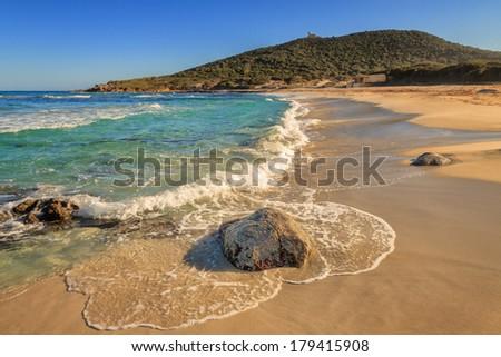 A deserted Bodri beach near Ile Rousse in the Balagne region of northern Corsica - stock photo