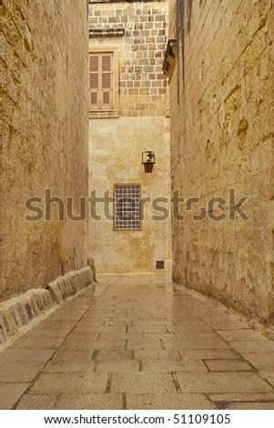 A deserted street in Malta, Medina. - stock photo
