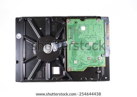 A desktop form factor hard drive on an isolated background. - stock photo