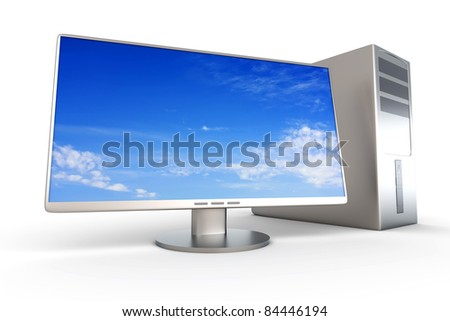 A Desktop PC System. 3D rendered Illustration. Isolated on white. - stock photo