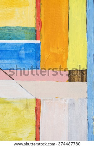 A detail from an abstract painting; orthogonal structure - stock photo
