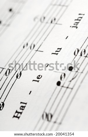 a detail from the hymnal with the word: Hallelujah - stock photo