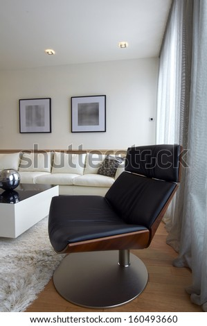 A detail of a contemporary living room-armchair - stock photo