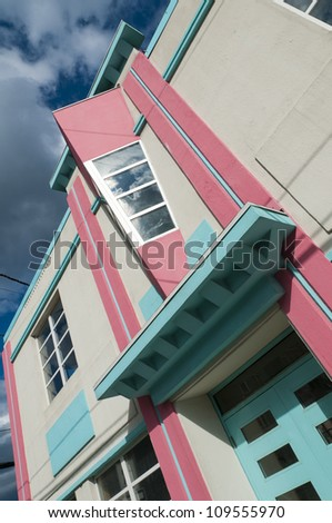 A detail of a newly restored art deco building in St John's, Newfoundland, Canada. - stock photo