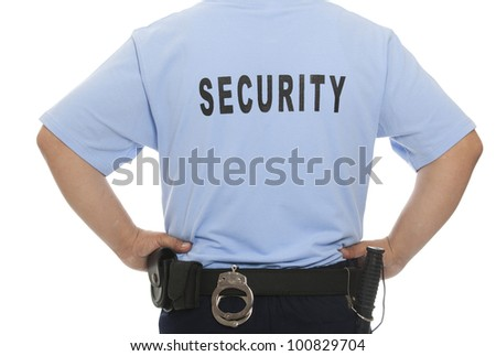 A detail of a security staff member - stock photo