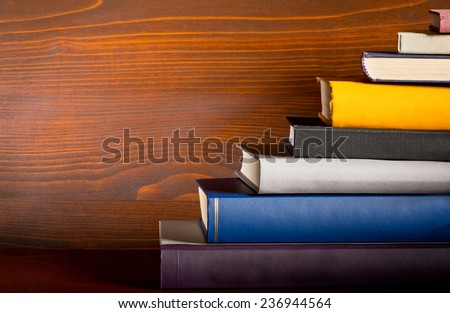 a detail of books in the bookshelf