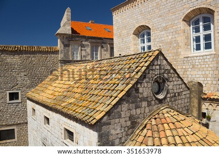 A detail of Dominican Church building in Dubrovnik Old Town, Croatia
