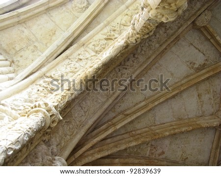 A detail of the arcade of the courtyard of the Jeronimus monastery in Belem a district of Lisbon in Portugal - stock photo