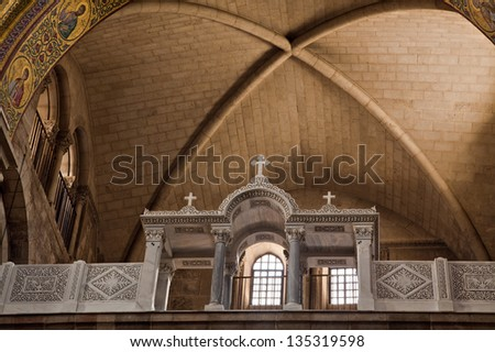 """A detail of the Basilica inside the """"Church of the Holy Sepulchre"""" in the old city of Jerusalem, Israel. - stock photo"""