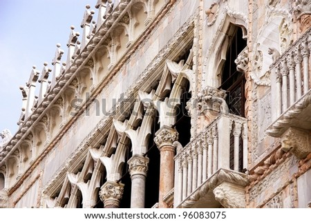 A detail of the Ca d' Oro palace at the Canal Grande in Venice in Italy - stock photo