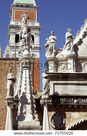 A detail of the courtyard of the Doge palace in Venice in Italy