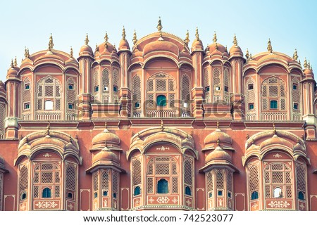 A detail of the facade of the pink Palace of Winds as seen from the road in the city of Jaipur in eastern Rajasthan, India