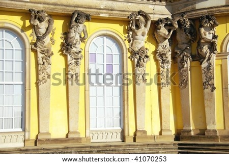 A detail of the facade of the summer palace in the sanssouci royal park in Potsdam in Germany
