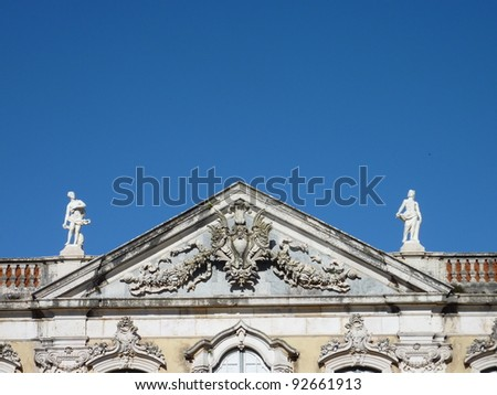 A detail of the front of the Queluz palace in Portugal - stock photo