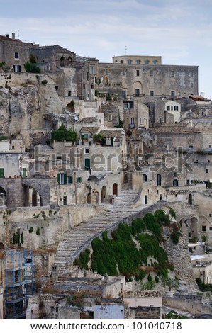 "A detail of the historic center of Matera with the so called ""Sassi"" houses. - stock photo"