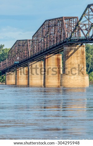 a detail of The Old Chain of Rocks bridge and historic water (intake) tower on the Mississippi River near St Louis - stock photo