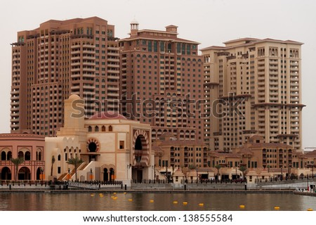A detail of the pearl in Doha, Qatar. A new artificial island in the Gulf - stock photo