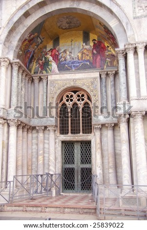 A detail of the san Marco cathedral in Venice in Italy - stock photo