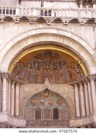 A detail of the St Mark basilica in Venice - stock photo
