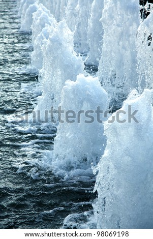 A detail shot of water and fountains - stock photo